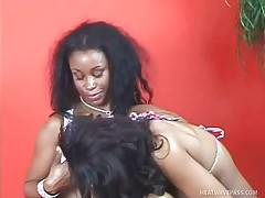 Pretty Black Babes Are Caressing Each Other 1